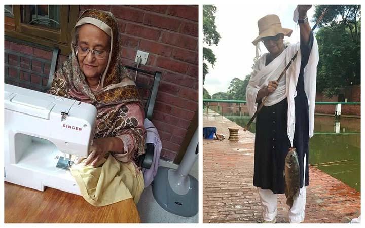 সেলাই করছেন-মাছ ধরছেন প্রধানমন্ত্রী