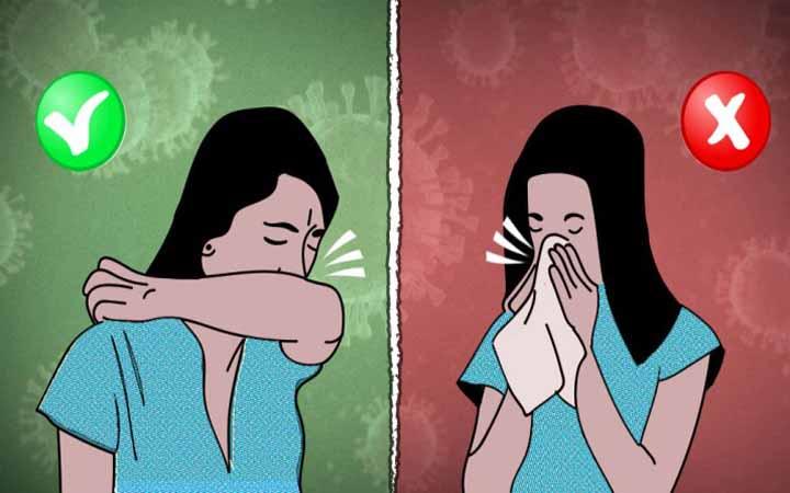 তালু নয়, হাঁচি-কাশির সময় মুখ ঢাকুন বাহু দিয়ে